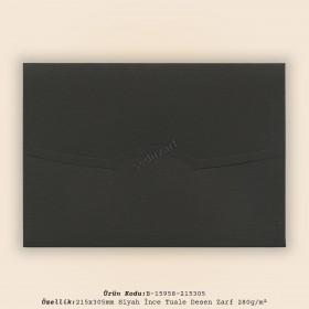 21,5x30,5cm Siyah İnce Tuale Desen Zarf 280gr/m²