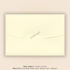 21,5x30,5cm Krem Tuff Desen Zarf 280gr/m²
