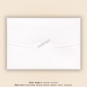 21,5x30,5cm Beyaz Keten Desen Zarf 250gr/m²