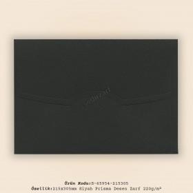 21,5x30,5cm Siyah Prisma Desen Zarf 220gr/m²