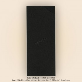 22x9cm Siyah Prizma Desen Zarf 220gr/m² Kapaksız