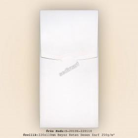22x11cm Beyaz Keten Desen Zarf 250gr/m²