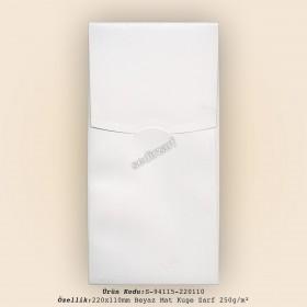 22x11cm Beyaz Mat Kuşe Zarf 250gr/m²