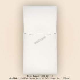 22x11cm Beyaz Naturel Felt Desen Zarf 280gr/m²