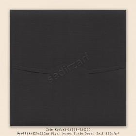 22x22cm Siyah Moyen Tuale Desen Zarf 280gr/m²